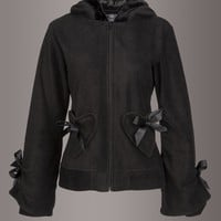 Black Full Zip Alice Hoodie with Bows