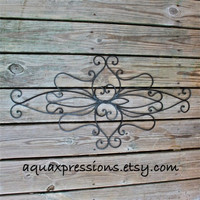 Metal Wall Fixture /Black /Distressed Patio Decor /Painted /Outdoor Up Cycled Iron Art /Ornate Design /Beach cottage