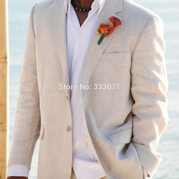 Simple Linen Suits Men Wedding Tuxedos Custom made Grooms Tuxedos Mens Suits Slim Fit Beach Groomsmen Suits Jacket+Pants