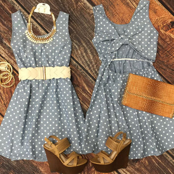 Polka Dot Bow Back Chambray Dress