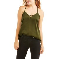 No Boundaries Juniors' Caged Back Satin Cami - Walmart.com