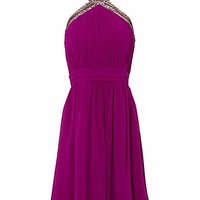 High neck lightly padded pleasted bust prom dress