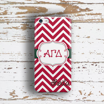 Alpha Gamma Delta - Thin red chevron with green -  AGD monogrammed sorority Iphone case