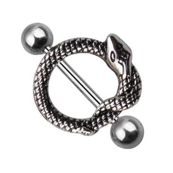 ac PEAPO2Q Fashion Unique Snake Stainless Steel Bar Ring Body Piercing Jewelry