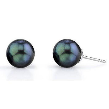 6.0-6.5mm Black Cultured Akoya Pearl Stud Earrings in 14K White Gold - Save on Select Styles - Zales