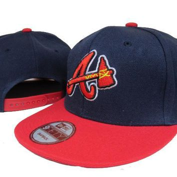 hcxx Atlanta Braves New Era MLB 9FIFTY Hat Blue-Red