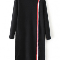 Stripe Detail Mock Neck Split Hem Long Sleeve Knitted Dress
