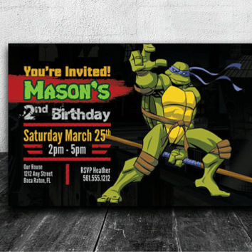 TMNT Party Invitation Custom Birthday Invite Ninja Turtle Digital