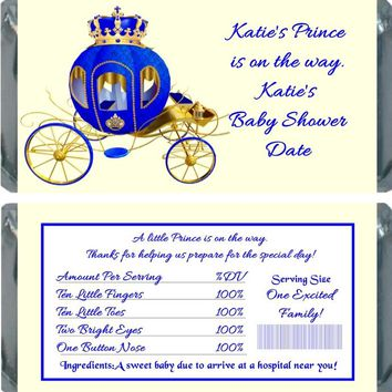 10 Prince Baby Shower Chocolate Bar Wrappers Carriage