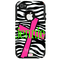 Monogrammed Otterbox Commuter Case for  iPhone 4, iPhone 5c, iPhone 5 in Funky Cross