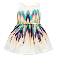 Dip-Dye Delight Ikat Party Dress, Multi, Sizes 8-10