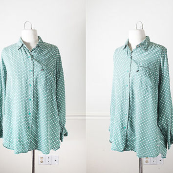 1990s Rayon Button Down Shirt / 90s Soft Grunge Top / Polka Dot Blouse / Vintage 80s Oversized Shirt Pastel Grunge Clothing Boyfriend Shirt