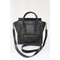 Celine 2013 Black Smooth Leather Nano Luggage Messenger Bag