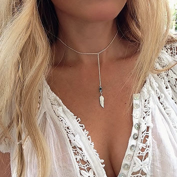 Perfect Day Necklace, Feather Necklace, Choker Necklace