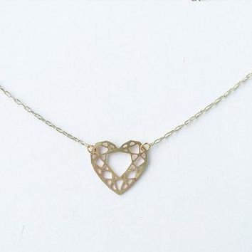 Heart Cut Gem Necklace | Brass