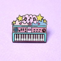 Electric keyboard piano enamel pin » Glitter Punk Jewellery