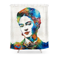 Society6 Frida Kahlo Art - Viva La Frida - By Sharon Cummings Shower Curtains