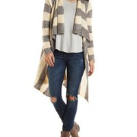 Striped Cascade Duster Cardigan Sweater
