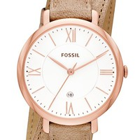 Fossil 'Jacqueline' Round Wrap Leather Strap Watch, 36mm
