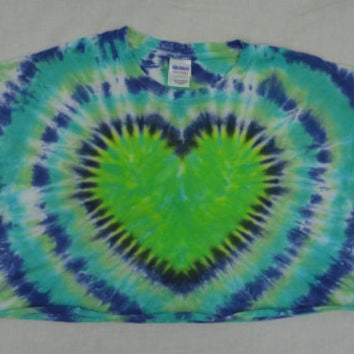 Tie Dye Shirt Large Crop Top Psychedelic Hippie Heart Green Blue Festival Oversize tshirt Womens Clothing Handmade Tie Dye Plur Raver XL