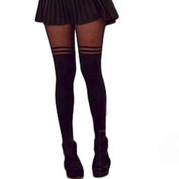 Vintage Sexy Stockings Pantyhose MOCK OVER THE KNEE DOUBLE STRIPE SHEER TIGHTS