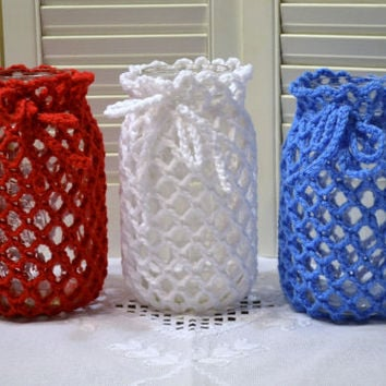 Crochet Candle Holder Luminaire Lantern Mason Jar Cover Red White Blue Flower Vase Littlestsister