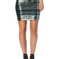 Sequined Body Con Mini Skirt