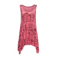 New Fashion Letter Newspaper Print Shirts Women Tee Tops 2018 Casual Summer Sleeveless Tank Top Floral Vest Long Tunics