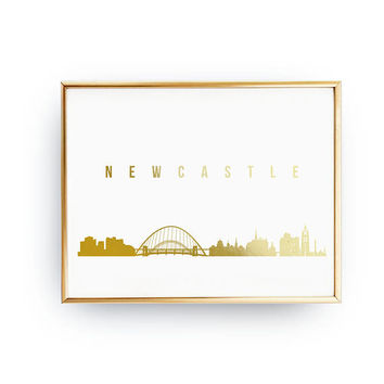 Newcastle Skyline, Newcastle Print, Real Gold Foil Print, Office Decor, Illustration Art Print, Office Wall Art, London Art, Great Britain.