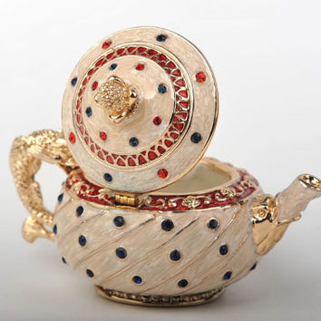 Cream Teapot Faberge Styled Trinket Box Handmade by Keren Kopal Enamel Painted Decorated with Blue Swarovski Crystals
