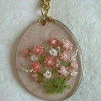 Handpainted Floral Eyeglass Lens Pendant Necklace Pink Unusual Jewelry
