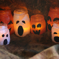 Set of 6 Halloween ghost & pumpkin candle holders--upcycled luminary jars