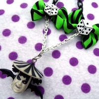 Flying Beetlejuice Head Necklace by hobbittownjewelry on Etsy
