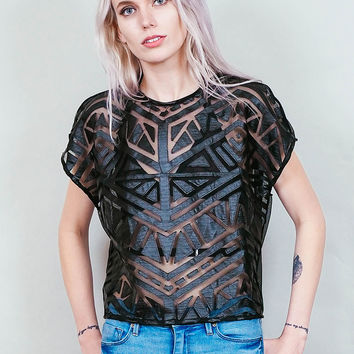 Cross My Heart - sheer mesh crop top with faux leather panels - cruelty free