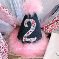 Country Chic Girl's Birthday Hat - denim and floral choose your age & personalize with name