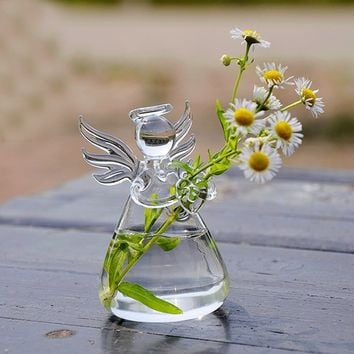 Angel Glass Plant Flower Vase Hydroponic Container Fish Tank Garden Decor