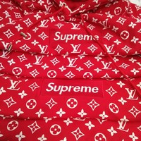 LV Supreme Fashion Casual Print Long Sleeve Embroidered Pullover hoodie Sweater Red G