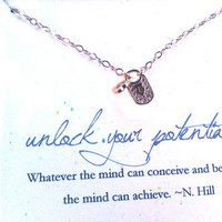 Positive Thinking Conceive Believe Achieve Necklace Lock Charm Motivational Necklace