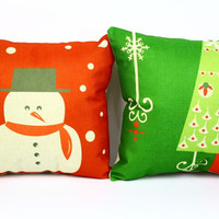 Christmas pillow cover, Cartoon American Christmas tree snowman Christmas gift cotton linen throw pillow cushion cover pillowcase/houseware