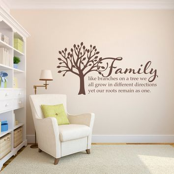 Family Tree Wall Decal - Family like branches on a tree Quote Decal - Living Room Wall Art - Large