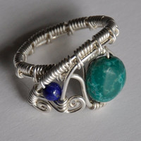 Wire Wrapped Ring, Turquoise and Lapis Gemstone Beads, Sterling Silver, Adjustable