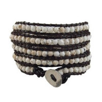 Brown Leather and Howlite Chan Luu Style Wrap Bracelet