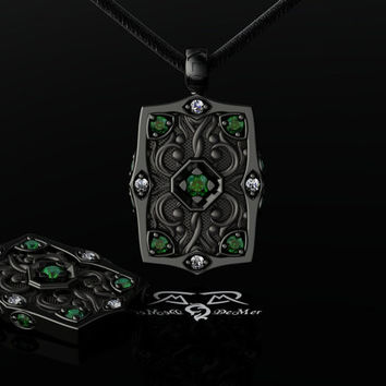 Natural Emerald, Ideal Cut Diamond, 14kt Black Gold Men's Gents Pendant Necklace. Edgar Allen Poe.
