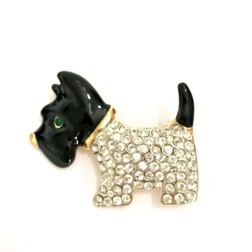 Adorable Scotty Dog Rhinestone Brooch, Glossy Black Enamel Head & Tail, Pave Set Clear Crystal Body Gold Tone Dog Pin Vintage Gift for Her