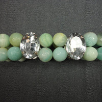 Amazonite Gemstone Stacking Bracelet Double Strand With Rhinestones, Aqua