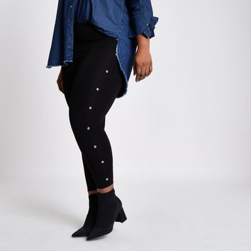 Plus black eyelet side leggings - Leggings - Pants - women