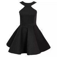 Women Vintage 60's High Waist Sexy Halter Strapless Ball gown Swing Dress Candy color Frill Flared Pleated Slim Dresses