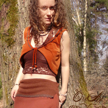 Moth&Fern vest, hand embroidery, hand sewed symbol, earthy, pixie, fairy, elfy, festival, vest, nature, forest, fern, moth