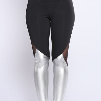 Alisa Metallic Active Leggings - Silver