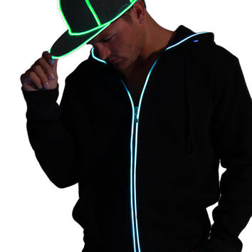 Light-up Snapback Hat -  Ultra Bright el wire on black hat available in 4 colors for Burning Man, EDC, Tomorrowworld, Ultra, Festival, Rave
